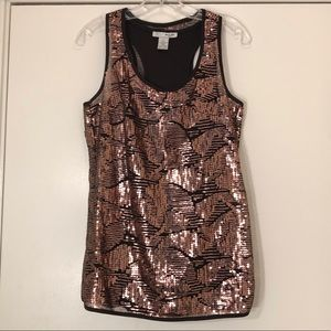 WD NY Black racerback tank with copper sequins